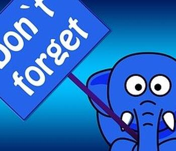 elephant holding don't forgot sign